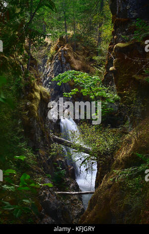 Beautiful waterfall and moss covered rocky cliffs artistic nature scenery at Little Qualicum Falls Provincial Park, - Stock Photo