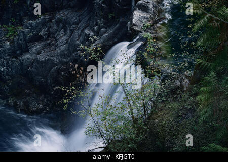 Waterfall closeup nature scenery at Little Qualicum Falls Provincial Park, Vancouver Island, BC, Canada - Stock Photo