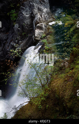 Artistic closeup of a waterfall at Little Qualicum Falls Provincial Park, Vancouver Island, BC, Canada - Stock Photo