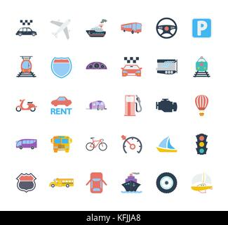Transportation icons set. Flat vector related icons set for web and mobile applications. It can be used as - logo, - Stock Photo