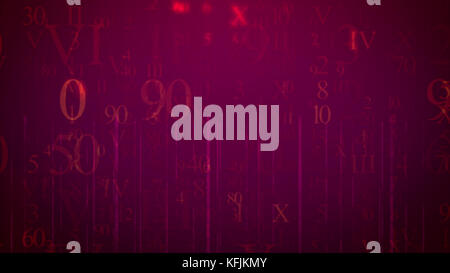A cyberspace 3d rendering of falling numbers and letters in the light violet background. The most frequent are eight, - Stock Photo