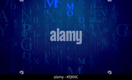 An astonishing 3d rendering of falling Latin letters in the dark blue background with a grid. The most frequent - Stock Photo