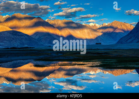 Himalayas on sunset, Nubra valley, Ladakh, India - Stock Photo