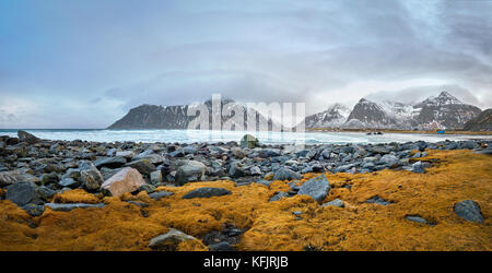 Rocky coast of fjord in Norway - Stock Photo