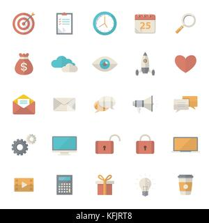 Set of 25 flat office, business, media and web design icons. Vector illustration eps10 - Stock Photo
