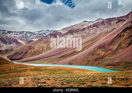 Chandra Tal lake in Himalayas - Stock Photo