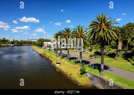 Boat sheds on Yarra River within the Alexandra Gardens in Melbourne, Victoria, Australia - Stock Photo