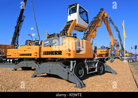 HYVINKAA, FINLAND - SEPTEMBER 11, 2015: Liebherr LH22 Material handling machine and other Liebherr equipment on - Stock Photo