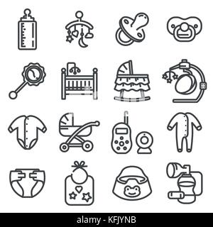 Vector line baby icons set on white background - Stock Photo