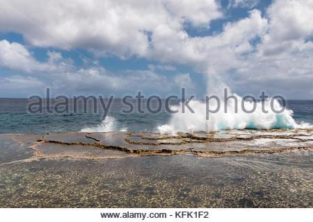 Blowholes-2, Tongatapu, Tonga - Stock Photo