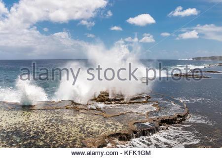 Mapu'a 'a Vaea Blowholes, Tongatapu, Tonga - Stock Photo