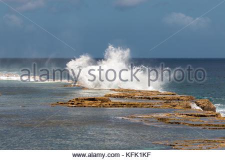 Splash of Mapu'a 'a Vaea Blowholes, Tongatapu, Tonga - Stock Photo