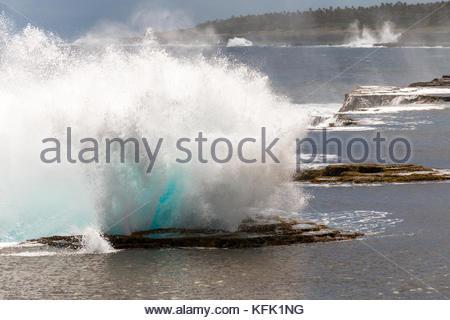 Closeup of splash of Mapu'a 'a Vaea Blowholes, Tongatapu, Tonga - Stock Photo