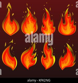Set of red fire icons. Flat vector illustration. Collection of red with orange flames on brown gradient background - Stock Photo