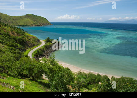 North coast of Timor-Leste (East Timor), east of Dili. Atauro Island is visible on the horizon. - Stock Photo