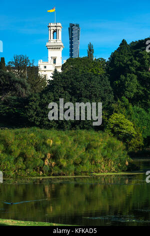 The Royal botanic gardens with Government House, Melbourne, Australia - Stock Photo
