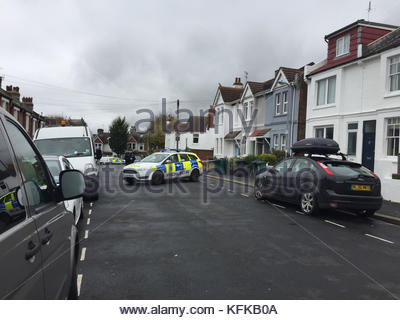 EDITORS NOTE: NUMBER PLATES PIXELATED BY PA PICTURE DESK File photo dated 26/10/17 of a police cordon in Sandgate - Stock Photo