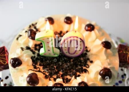 An image of a birthday cake with candles - 10 - Stock Photo