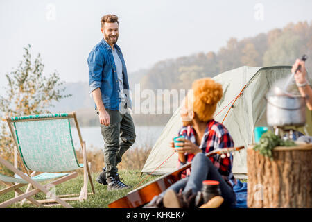 Friends during the outdoor recreation - Stock Photo