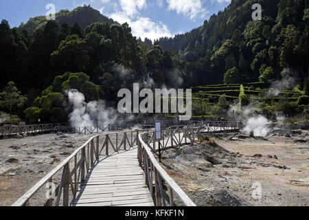 Wooden footbridge through fumaroles, hot springs, Caldeiras da Lagoa da Furnas, Furnas, Island of Sao Miguel, Azores, - Stock Photo
