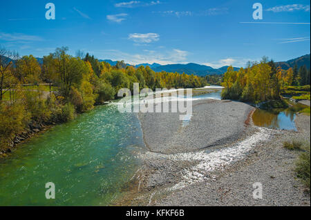 Wild river Isar in autumn, near Lenggries, Bavaria, Germany - Stock Photo