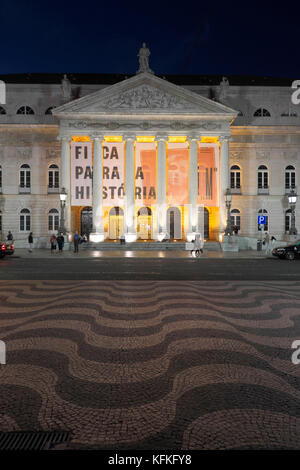 National Theatre, Teatro Nacional de Dona Maria II, Square Rossio, by night, Baixa, Lisbon, Portugal - Stock Photo