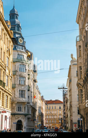 Vienna, Austria - 13 October, 2016:  Rush Hour Traffic On Downtown Streets Of Vienna City - Stock Photo