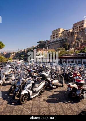 Scooter park at the Marina Piccola in Sorrento, Italy. - Stock Photo