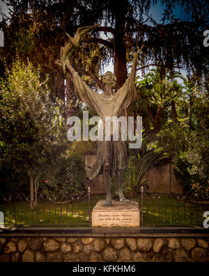 Bronze statue of Francis of Assisi situated outside the church of San Francesco d'Assisi. Sorrento. Italy. - Stock Photo