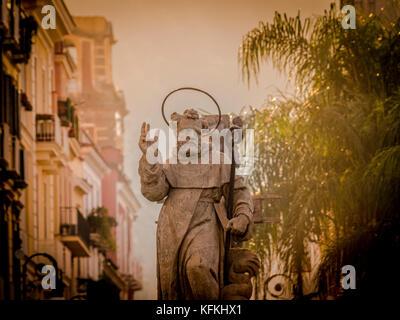 Statue of St. Antonino Abate in Piazza Tasso. Sorrento, Italy. - Stock Photo