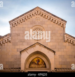 Gable end on the west front of Sorrento Cathedral, Sorrento, Italy. - Stock Photo