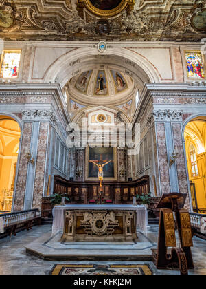 Altar and apse in Sorrento Cathedral, Sorrento, Italy. Sorrento Cathedral, Sorrento, Italy. - Stock Photo