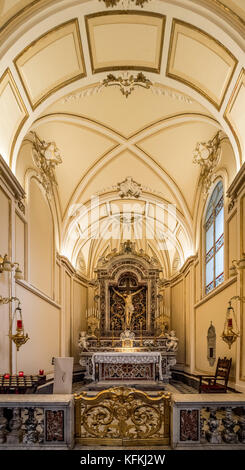 Altar and gold gates in a chapel in Sorrento Cathedral, Sorrento, Italy. - Stock Photo