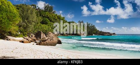 The Seychelles, Mahe, Anse Intendance, beach, shared with Banyan Tree Resort, panoramic - Stock Photo