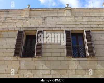 Traditional Maltese wooden doors and windows. Iron railings 17th to 20th century. - Stock & Traditional Maltese wooden doors and windows. Iron railings 17th to ...