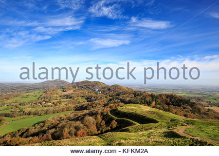 The Malvern Hills from British Camp, Worcestershire, England - Stock Photo