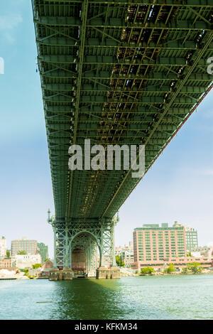 Bridge photo taken form under it in perspective in Manhattan - Stock Photo