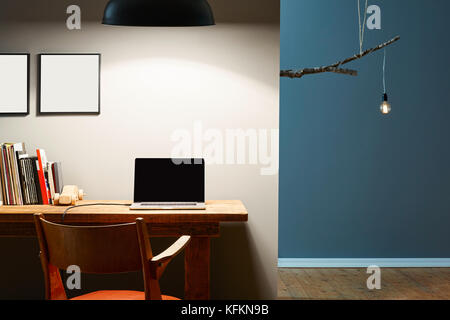 urban office creative design laptop birch lamp - Stock Photo