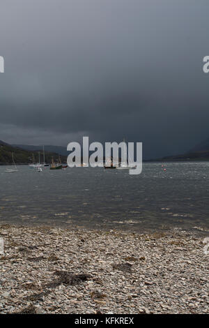 Approaching storm, Ullapool, Wester Ross, Scottish Highlands, UK - Stock Photo