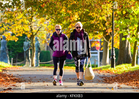 Dorchester, Dorset, UK. 30th Oct, 2017. UK Weather. Two Pedestrians wearing thick coats to keep warm, walk along - Stock Photo