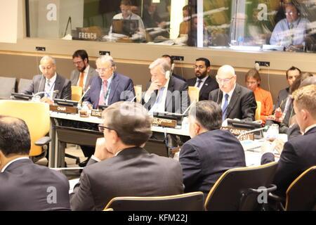 UN, New York, USA. 30th Oct, 2017. UN Sec-Gen Antonio Guterres addressed UN Counter-Terrorism Centre Advisory Board. - Stock Photo