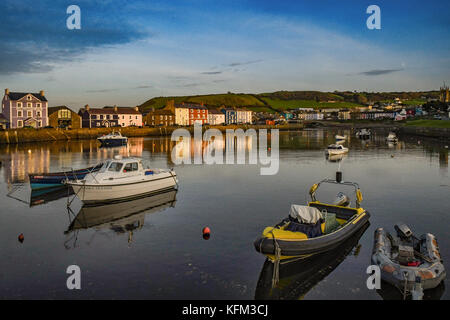 Aberaeron Harbour, Aberaeron, Ceredigion West Wales UK Monday 30th of October 2017 UK Weather Loverly end to the - Stock Photo