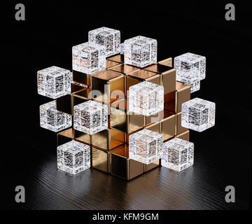 Blockchain digital illuminated shape transparent glass blocks boxes combines with golden big one. Big data node - Stock Photo