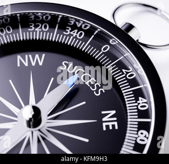 Compass with the needle pointing the word success. 3d rendering illustration with depth of field blur effect. Concept - Stock Photo