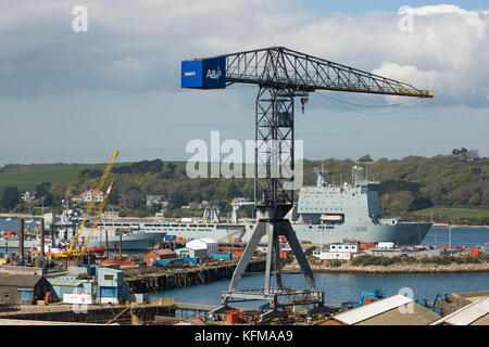 HMS Mounts Bay in home port of Falmouth UK with HMS Enterprise alongside - Stock Photo