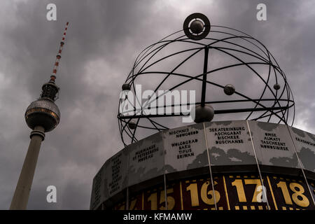 The World Clock, also known as the Urania World Clock, in  Alexanderplatz in Mitte, Berlin - Stock Photo