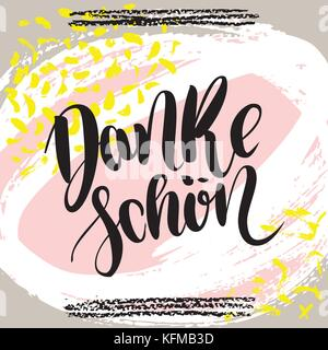 Danke schoen. Thank you in german. Vector hand drawn brush lettering on colorful background. - Stock Photo
