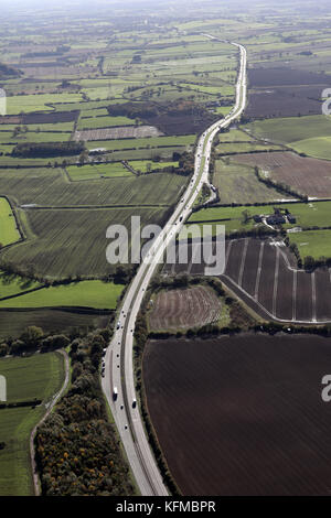aerial view looking south down the A19 near Osmotherley, North Yorkshire, UK - Stock Photo