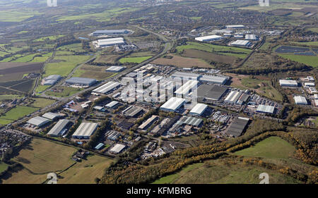 aerial view of South Fulwood Industrial Estate, Sutton in Ashfield, UK - Stock Photo