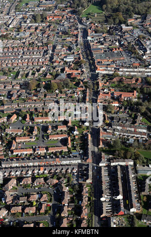 aerial view of Guisborough town centre, North Yorkshire, UK - Stock Photo